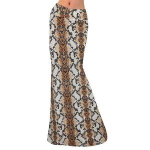 Brown Snake Skin Animal Yoga Skirt Long Maxi New